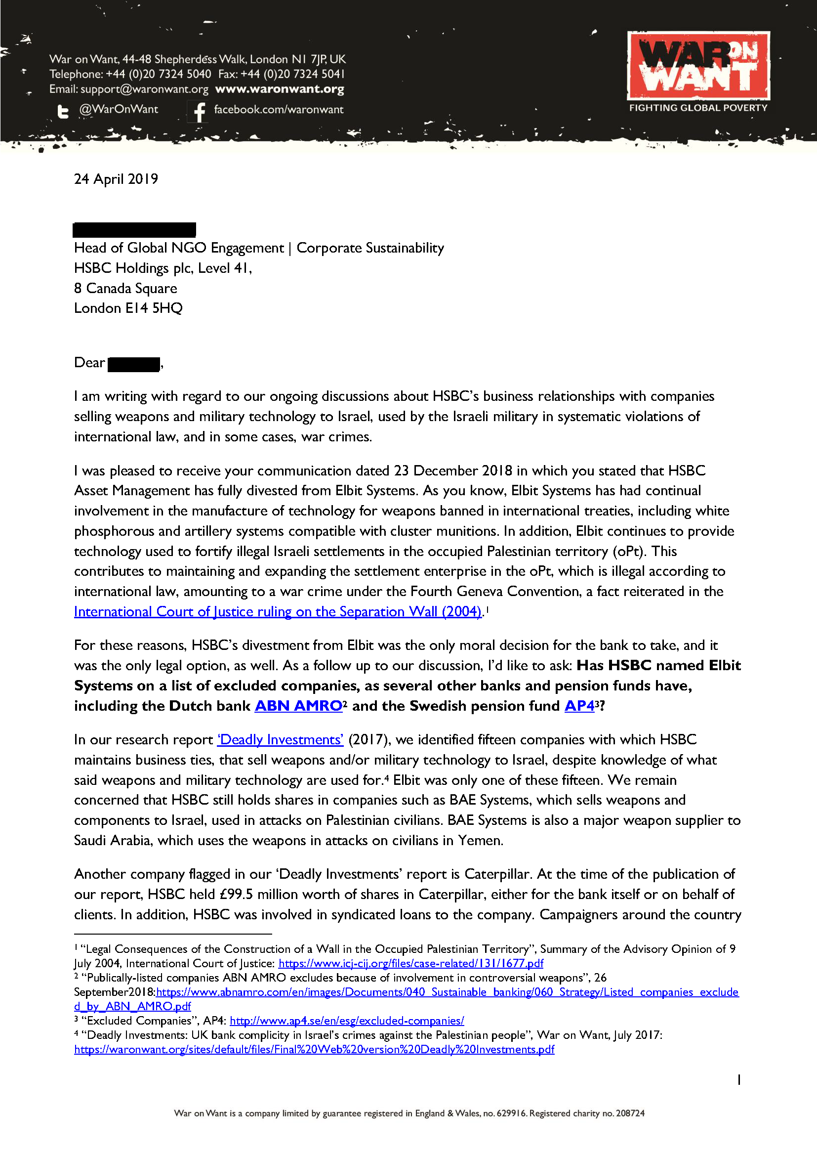 War on Want letter to HSBC over its business ties with