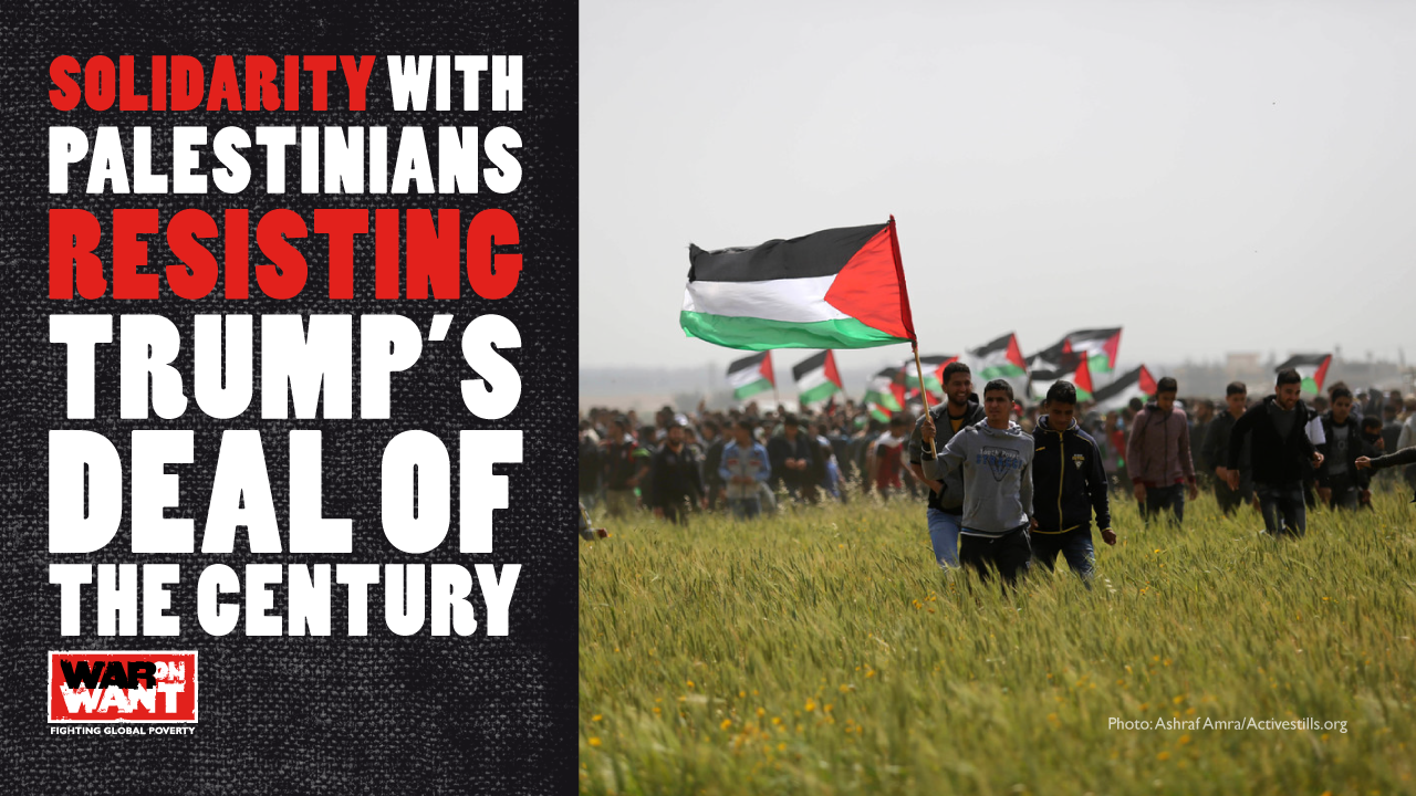 Solidarity with Palestinians resisting Trump's Deal of the Century. Photo: Ashraf Amra / Activestills.org