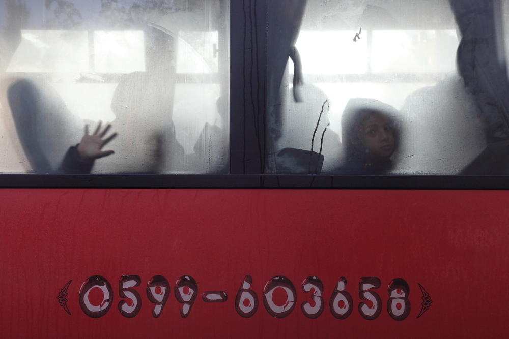 children on a bus